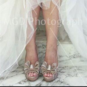 Valentino Garavani Satin Crystal Bow Heels